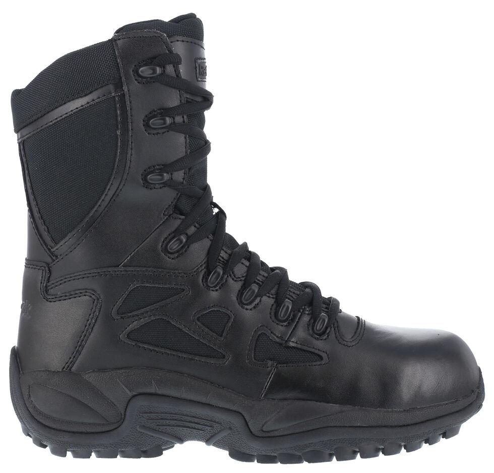"Reebok Women's Stealth 8"" Lace-Up Black Side-Zip Work Boots - Composite Toe, Black, hi-res"