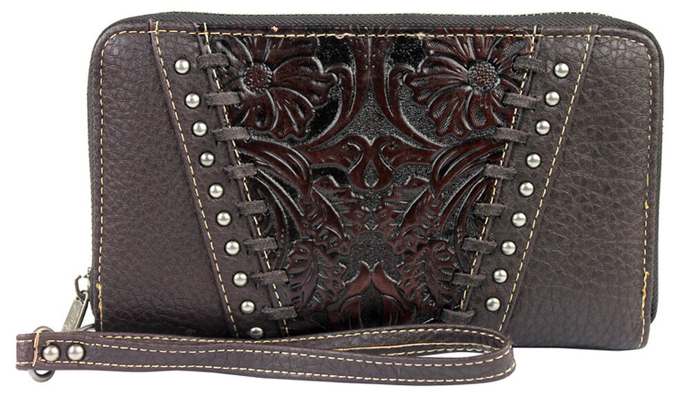 Montana West Trinity Ranch Coffee Tooled Leather Wallet , Brown, hi-res