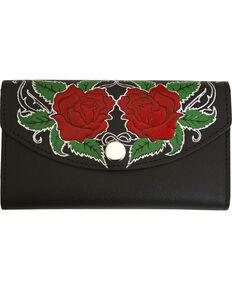 Western Express Women's Rose Black Leather Organizer Wallet, Black, hi-res