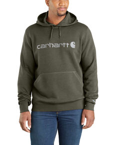 Carhartt Men's Moss Green Force Delmont Graphic Hooded Work Sweatshirt - Big , Moss Green, hi-res