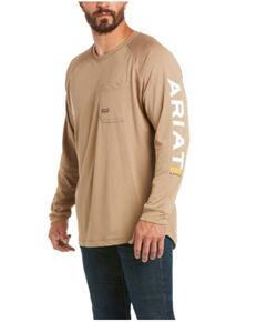 Ariat Men's Khaki Rebar Heat Fighter Long Sleeve Work Pocket T-Shirt - Big, Beige/khaki, hi-res