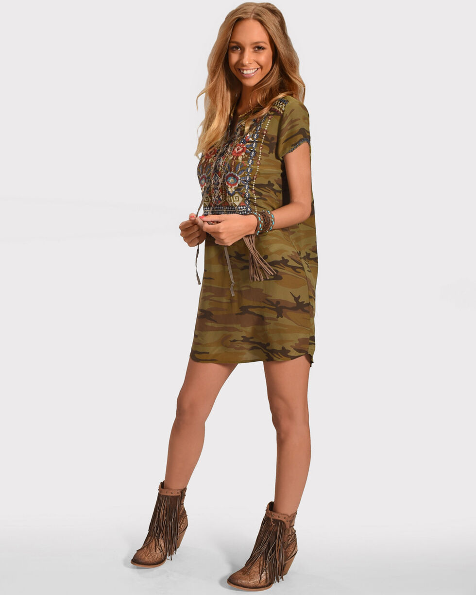 Johnny Was Women's Bohdi Lace-up Tunic Dress, Camouflage, hi-res