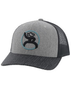 HOOey Men's Grey/Black Roughy Strap Mesh Ball Cap , Grey, hi-res