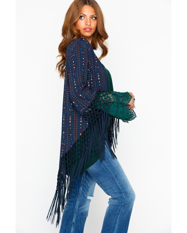 Cowgirl Up Women's Printed Fringe Trim Kimono, Black, hi-res