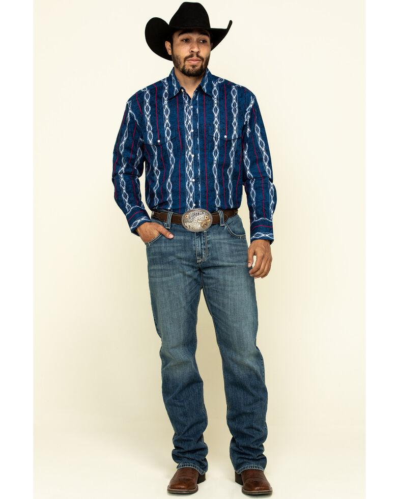 Wrangler Silver Edition Men's Blue Aztec Checotah Striped Long Sleeve Western Shirt , Blue, hi-res