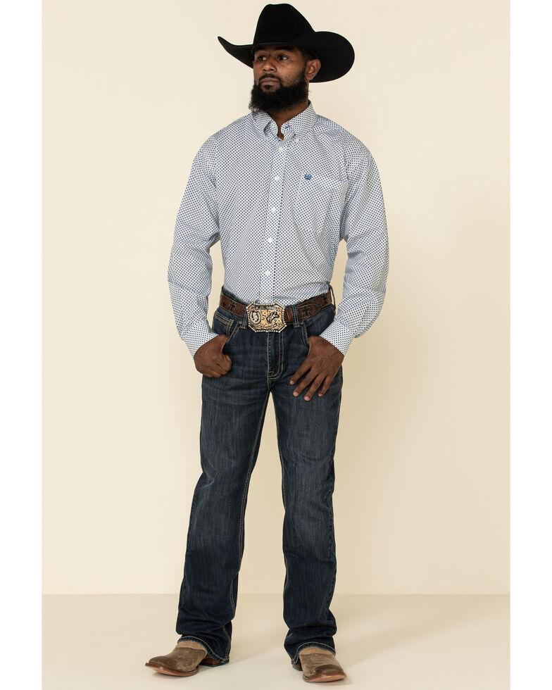 Cinch Men's Light Blue Diamond Geo Print Button Long Sleeve Western Shirt , Light Blue, hi-res