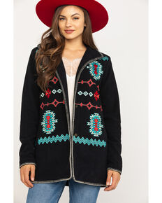 Outback Trading Co. Women's Midnight Aztec Embroidered Fleece Santa Fe Jacket , Dark Blue, hi-res