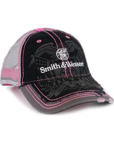 Smith   Wesson Women s Black Distressed Logo Trucker Ball Cap 5faa5b36e