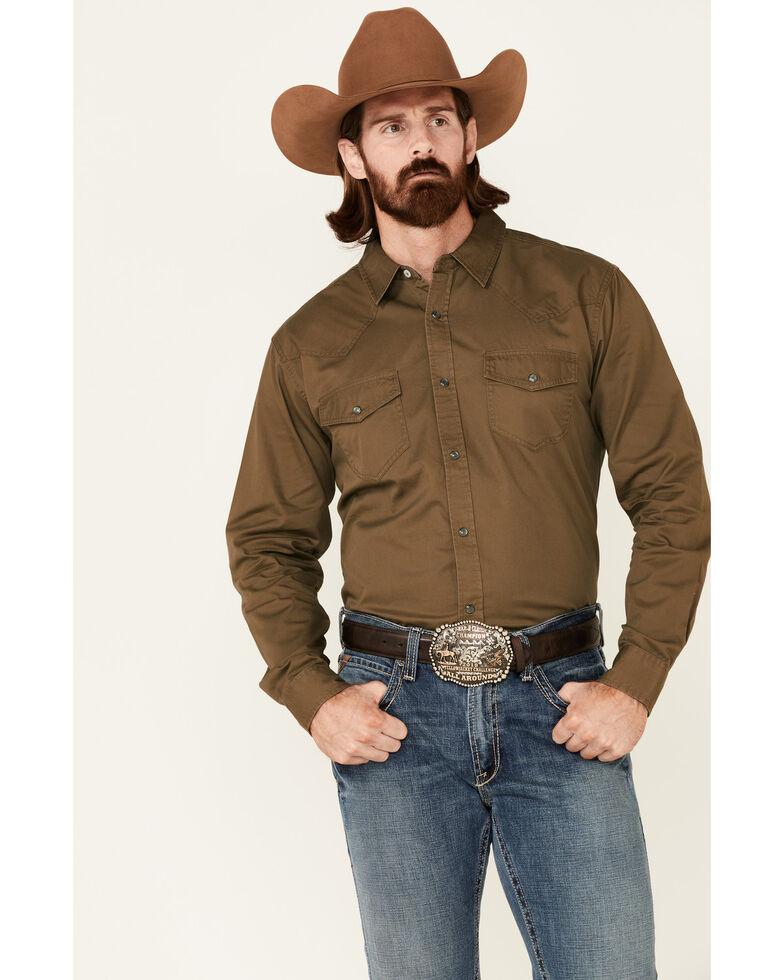 Cody James Men's Solid Olive Cornerstone Long Sleeve Western Shirt , Olive, hi-res