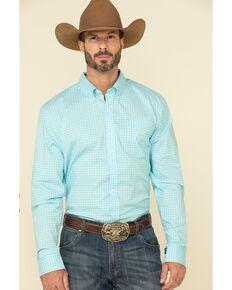 Cody James Core Men's Cloverleaf Geo Print Long Sleeve Western Shirt , Turquoise, hi-res