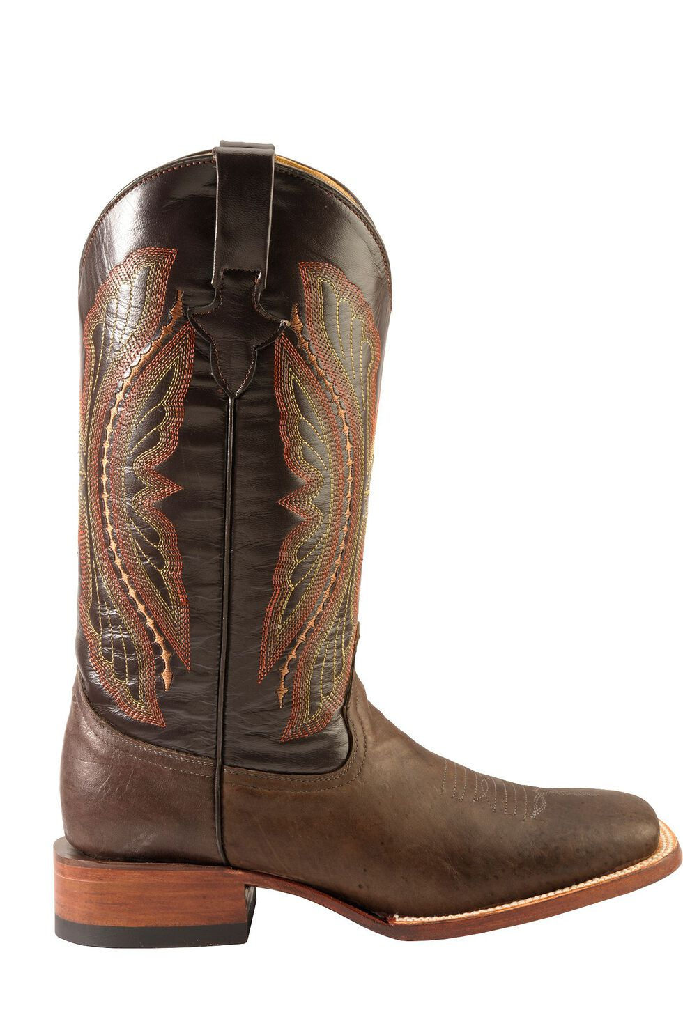 Ferrini Chocolate Distressed Kangaroo Cowboy Boots - Wide Square Toe, Chocolate, hi-res