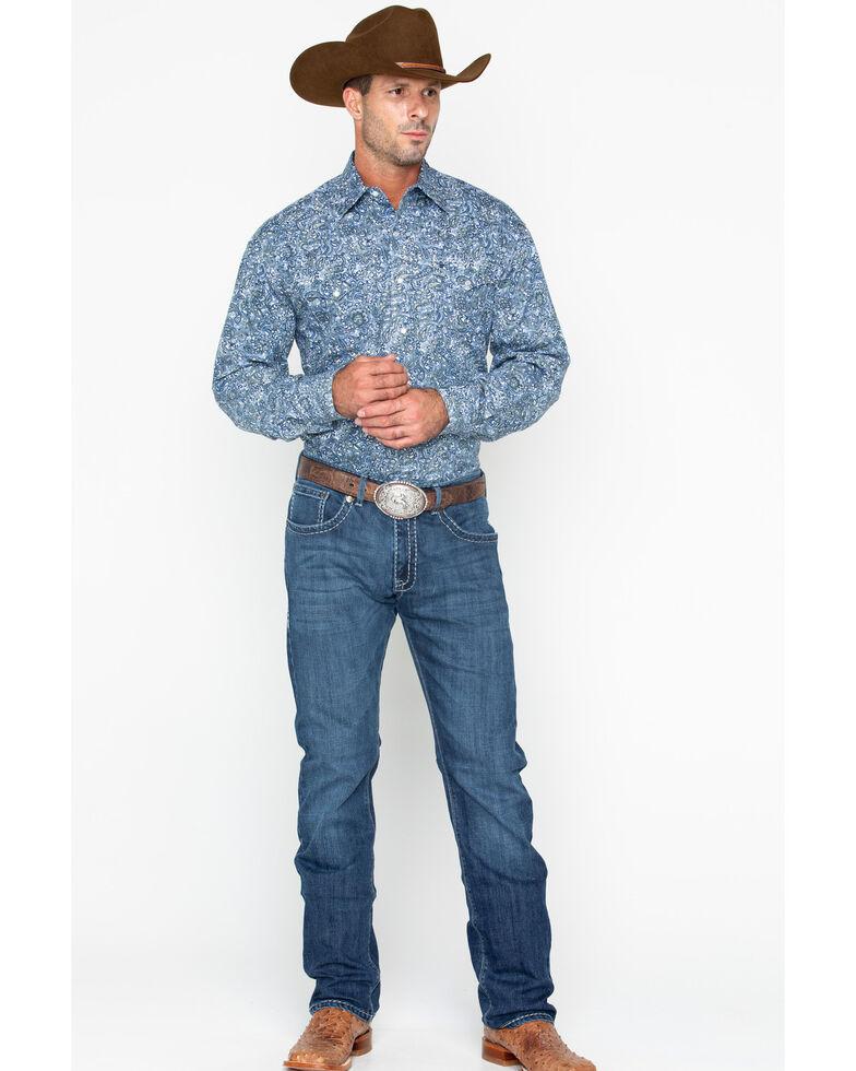 Stetson Men's Large Paisley Print Snap Long Sleeve Western Shirt , Blue, hi-res