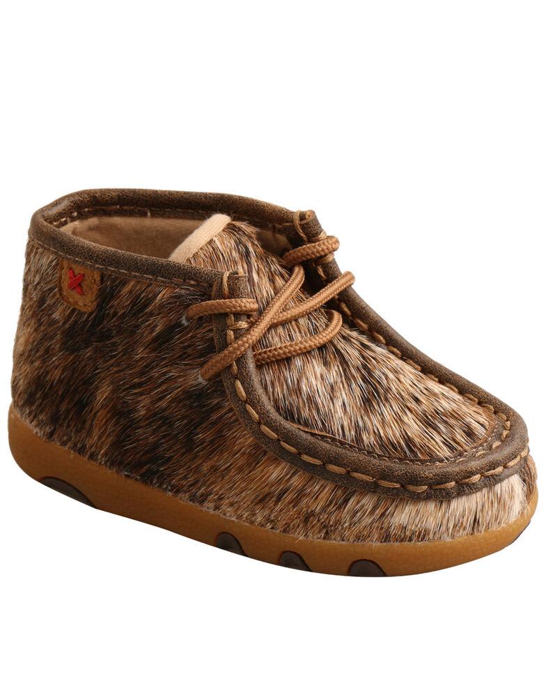 Twisted X Infant Girls' Brindle Hair-On Moc Boots - Moc Toe, Black/white, hi-res