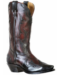 Boulet Women's Snip Toe Wing Tip Boots, Black, hi-res