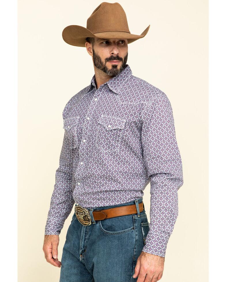 Wrangler 20X Men's Advanced Comfort Beet Small Geo Print Long Sleeve Western Shirt , Maroon, hi-res