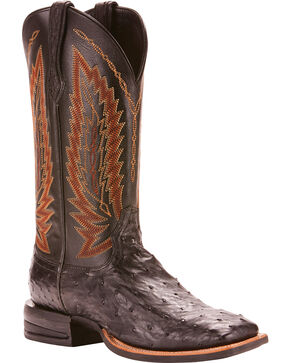 Ariat Men's Platinum Full Quill Ostrich Cowboy Boots - Square Toe , Black, hi-res