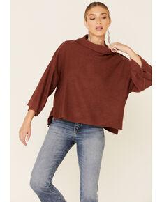 Sadie & Sage Women's Sparrow Cowl Neck Sweater , Rust Copper, hi-res