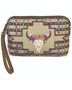 Catchfly Women's Floral Cow Skull Wallet, Brown, hi-res