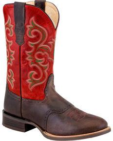 Old West Men's Dark Brown Fancy Stitch Leather Boots - Round Toe , Dark Brown, hi-res