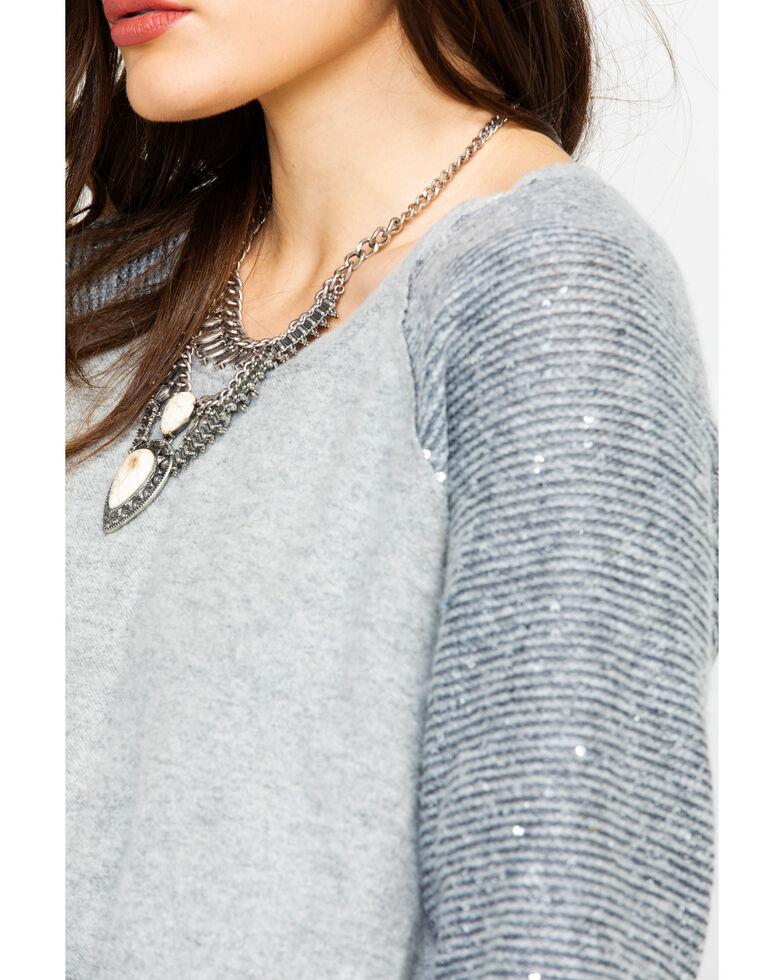 Eyeshadow Women's Contrast Sequin Long Sleeve Top , Grey, hi-res