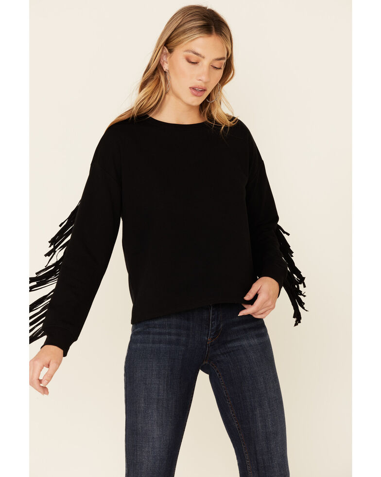 Idyllwind Women's Black Fringe Long Sleeve Top , Black, hi-res