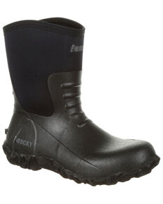 Rocky Men's Core Chore Rubber Waterproof Outdoor Boots - Round Toe, Black, hi-res