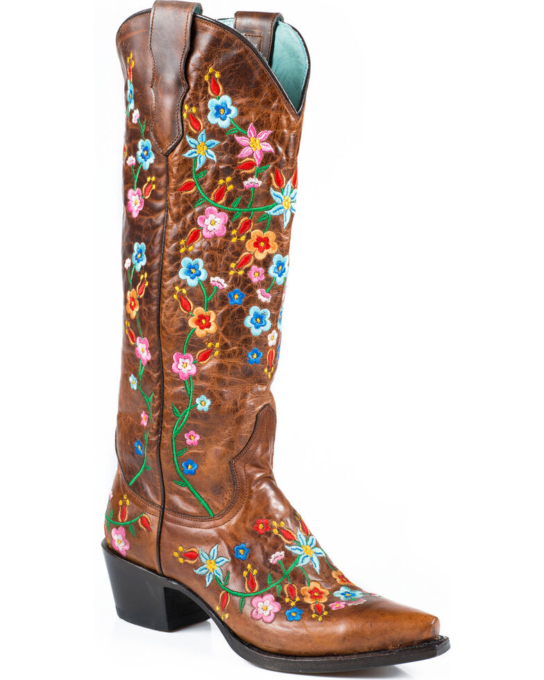 Stetson Women's Flora Embroidered Western Boots - Snip Toe, Brown, hi-res