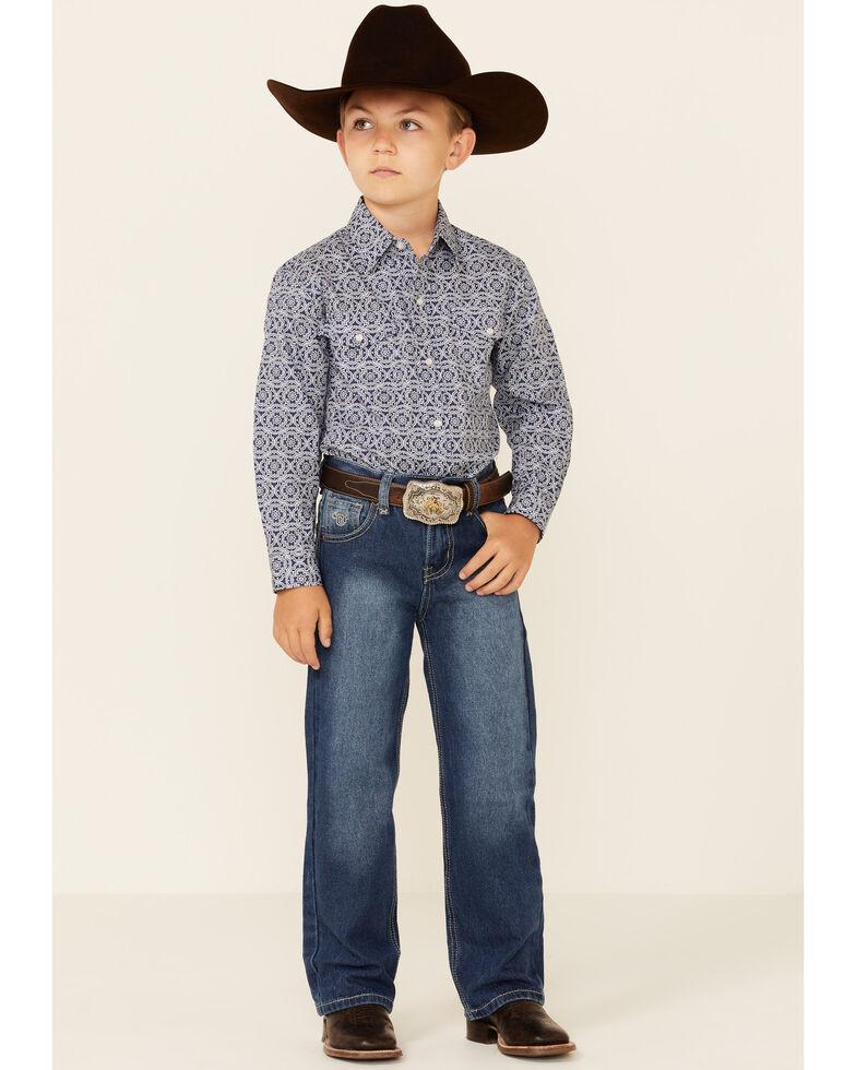 Roper Boys' Navy Medallion Geo Print Long Sleeve Snap Western Shirt , Blue, hi-res