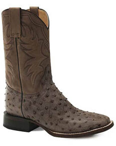 Roper Men's All In Ostrich Western Boots - Square Toe, Brown, hi-res