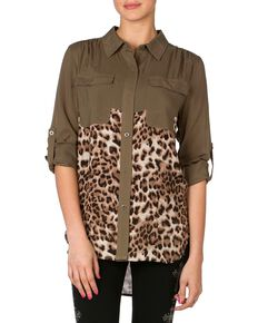 Miss Me Embellished Animal Print Top, Olive, hi-res