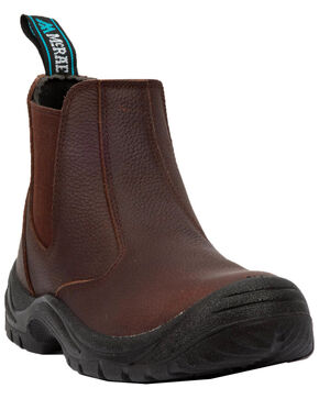 McRae Men's Twin Gore Slip-On Work Shoes - Steel Toe, Brown, hi-res