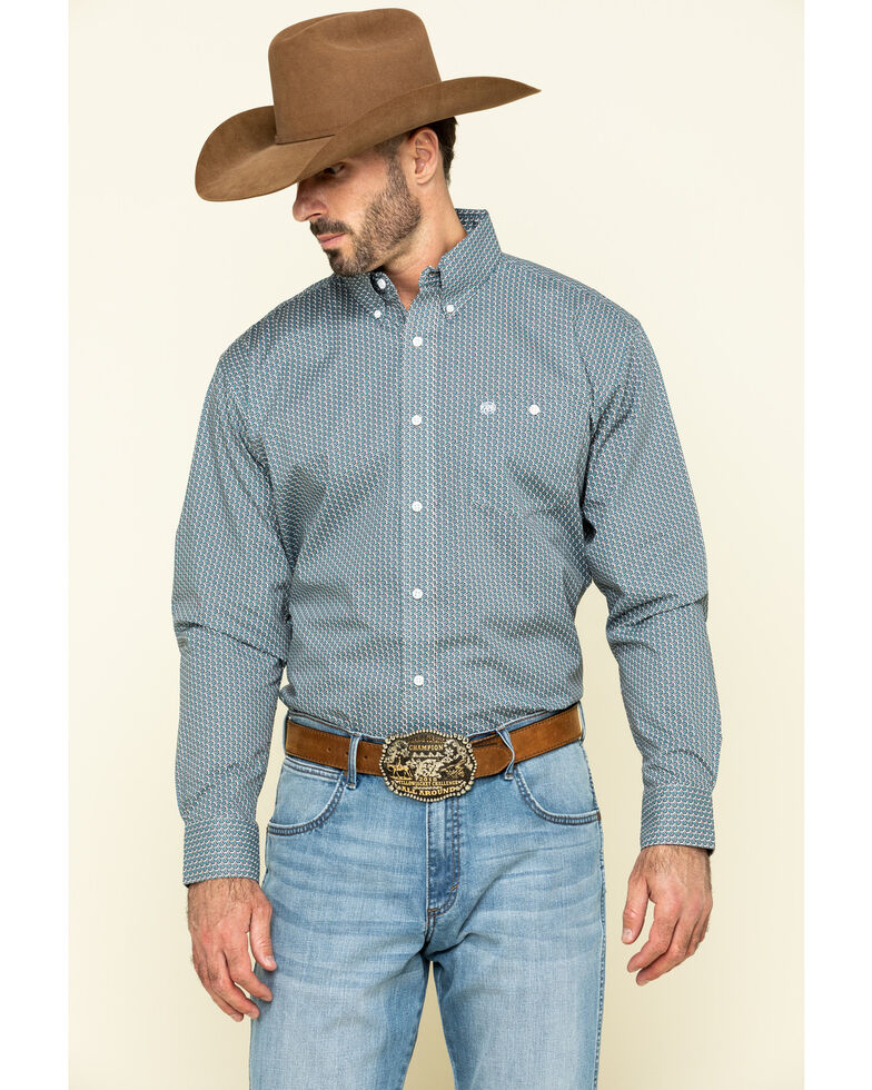 Wrangler Men's Classic Teal Geo Print Button Long Sleeve Western Shirt - Tall, Teal, hi-res