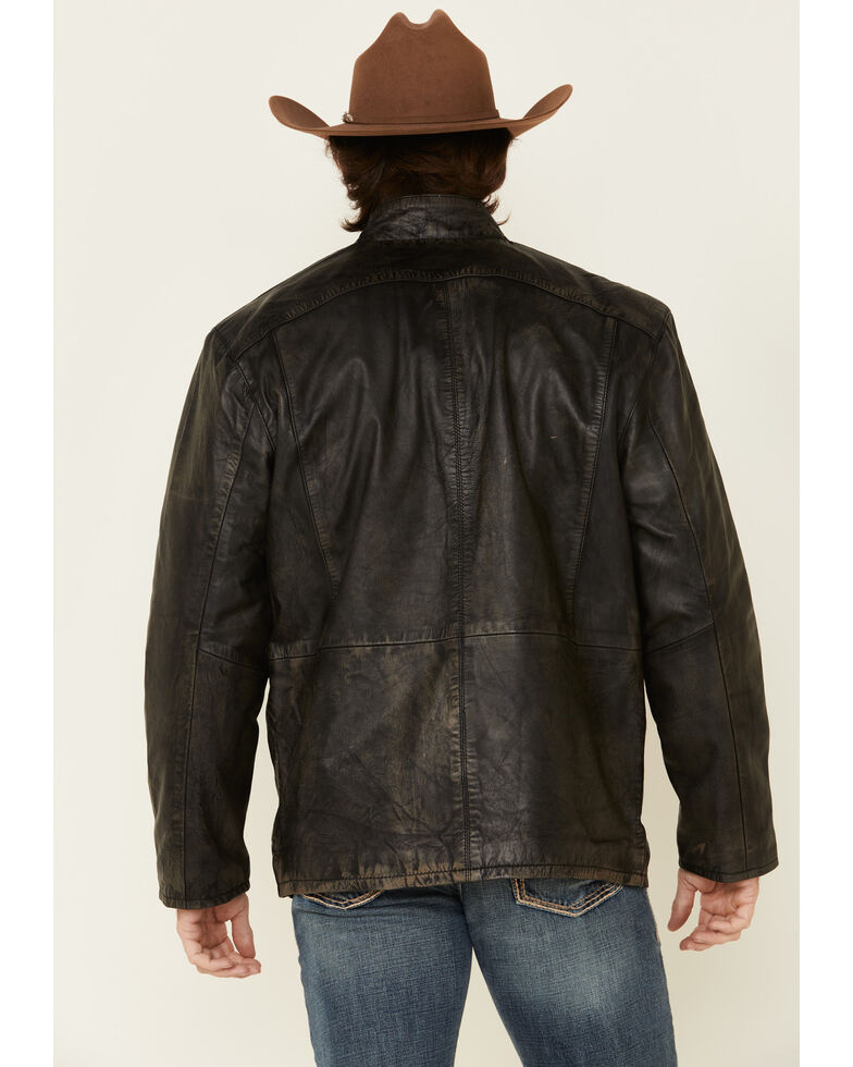 Cripple Creek Men's Antique Black Lamb Nappa Leather Jacket , Black, hi-res