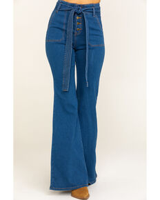 Flying Tomato Women's Button Fly Tie Front Flare Jeans, Blue, hi-res