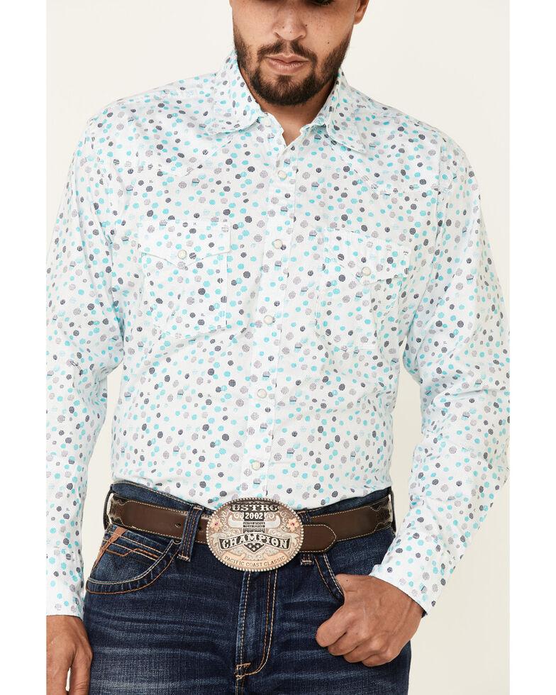 Wrangler 20X Men's Dot Geo Print Long Sleeve Snap Western Shirt , Blue, hi-res