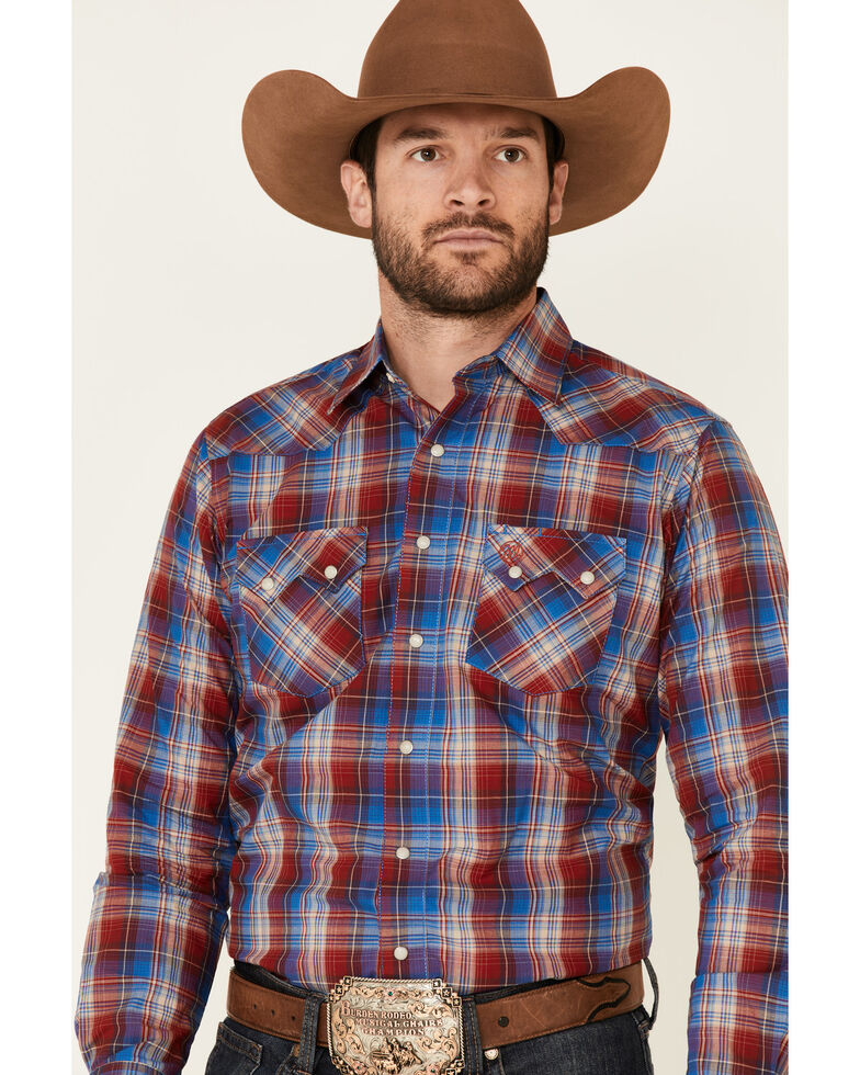 Wrangler Retro Men's Red Large Plaid Long Sleeve Snap Western Shirt , Red, hi-res