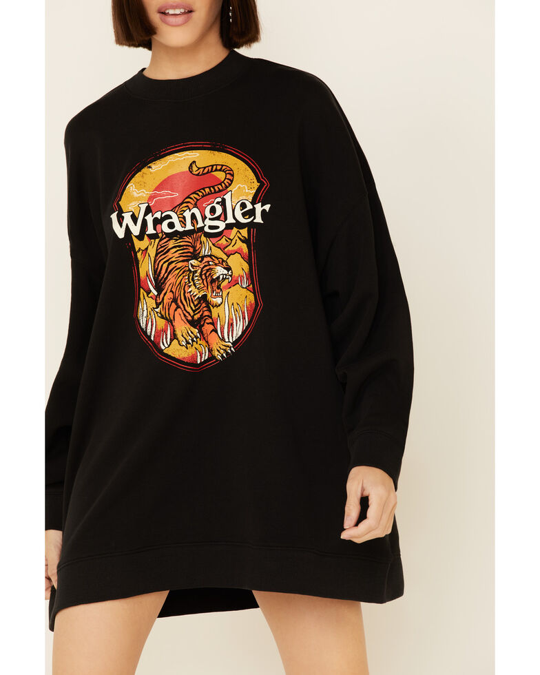 Wrangler Women's Oversized Tiger Graphic Pullover Sweatshirt , Black, hi-res