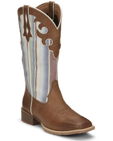 Justin Women's Lattie Square Toe Western Boots, Tan, hi-res