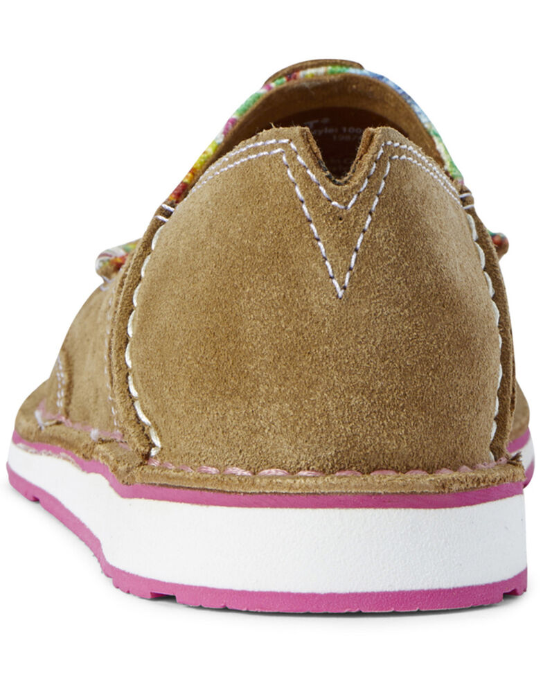 Ariat Women's Pink Cloth Cruiser Shoes - Moc Toe, Brown, hi-res