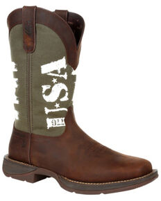 Durango Men's Army Green USA Western Boots - Square Toe, Brown, hi-res