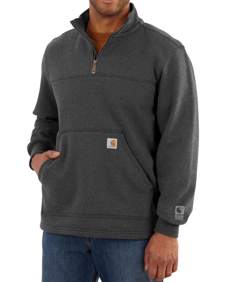 Carhartt Men's Rain Defender Paxton Quarter Zip Pullover Sweatshirt, Hthr Grey, hi-res