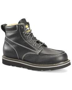 "Carolina Men's Black 6"" Flatiron Wedge Lace-Up Full-Grain Work Boot - Moc Toe, Black, hi-res"