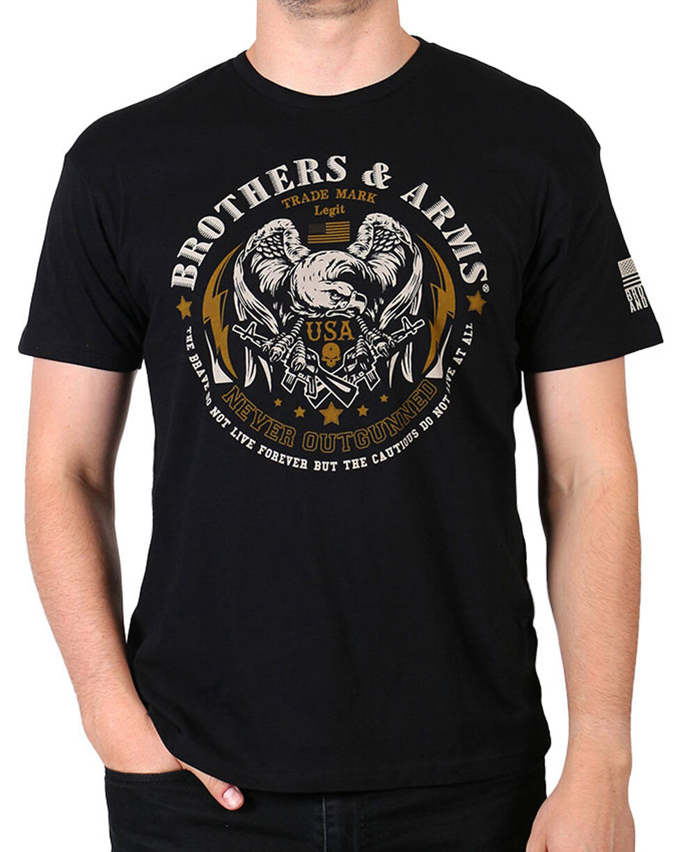 Brothers & Arms Men's Black Never Outgunned Short Sleeve Tee, Black, hi-res