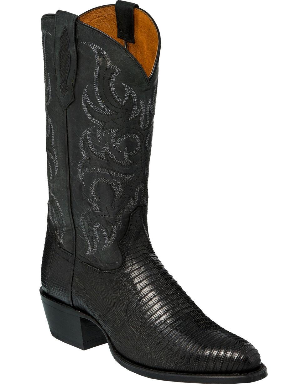 Tony Lama Men's Nacogdoches Black Teju Lizard Cowboy Boots - Medium Toe, Black, hi-res