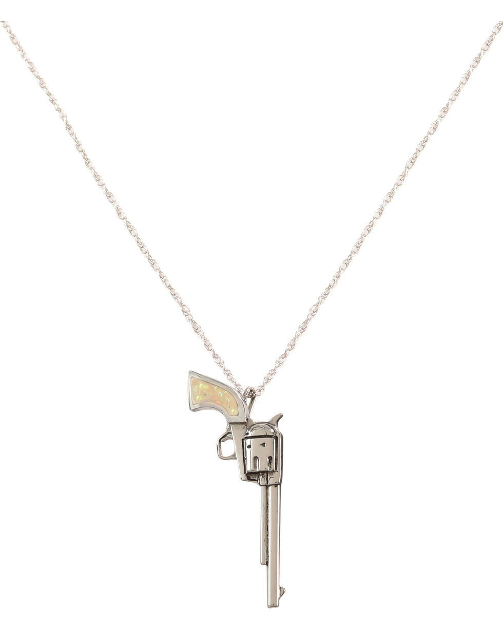 Silver Legends Women's White Opal Long Barrel Pistol Necklace , White, hi-res