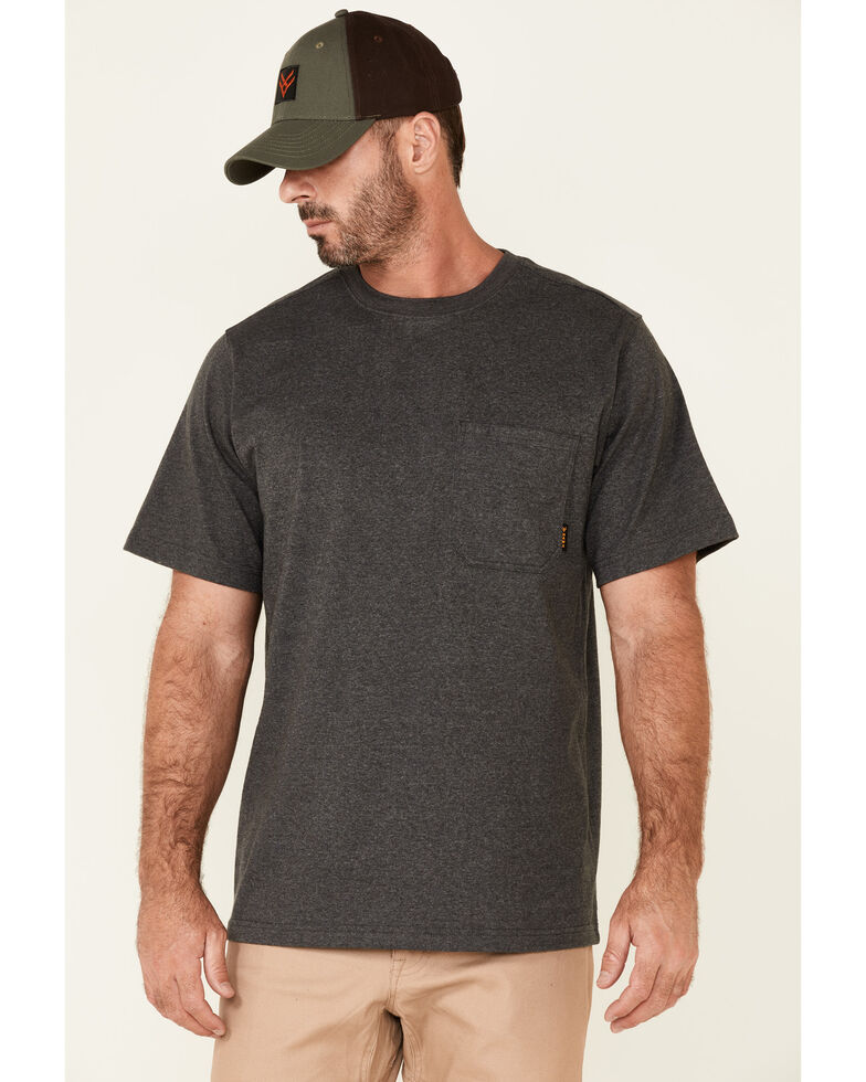 Hawx Men's Solid Charcoal Forge Short Sleeve Work Pocket T-Shirt - Tall , Charcoal, hi-res