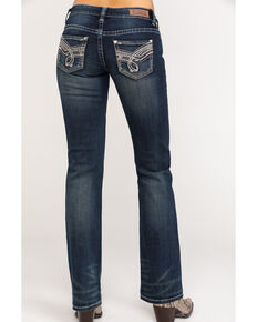 Rock & Roll Cowgirl Women's Dark Wash Riding Boot Cut Jeans, Blue, hi-res