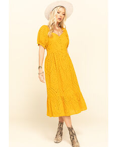 Loveriche Women's Mustard Eyelet Maxi Dress, Mustard, hi-res