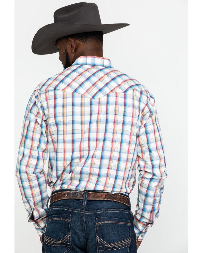 Wrangler Retro Men's Premium Multi Plaid Snap Long Sleeve Western Shirt , Blue, hi-res