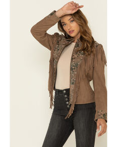 Scully Women's Brown Beaded Fringe Jacket, Brown, hi-res